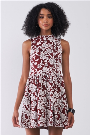 Burgundy & White Floral Crew Neck Sleeveless Fitted Mini Dress /1-1-2-1