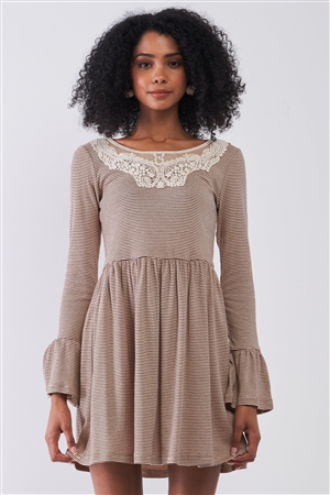 Taupe Horizontal Stripped Embroidery Detail Long Sleeve With Flare Hem Mini Dress /1-1-2-1