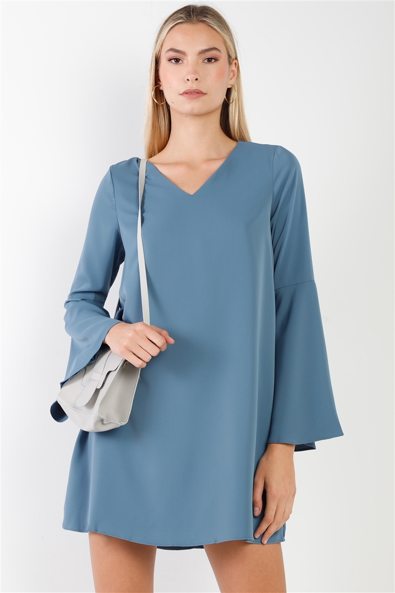 Slate Blue V-Neck Trumpet Sleeve Detail Flowing Relaxed Mini Dress /1-2-1
