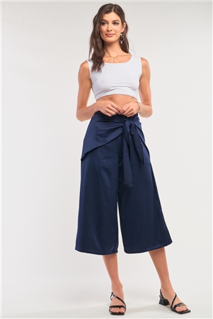 Solid Navy Satin High Waisted Wrap Tie Midi Pants /2-2-2-1
