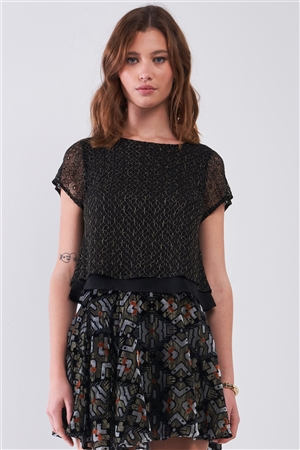 Black & Gold Thread Crew Neck Crochet Layered Short Sleeve Back Strap Detail Top /1-2-2-1