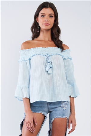 Light Blue Off-The-Shoulder Frill Shoulder Hem Wide Midi Sleeve Loose Fit Front Tassel Tie Peasant Top With Pompom Detail