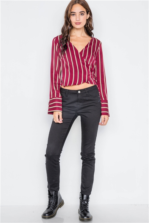 Burgundy Satin Self-Tie V-Neck Crop Blouse