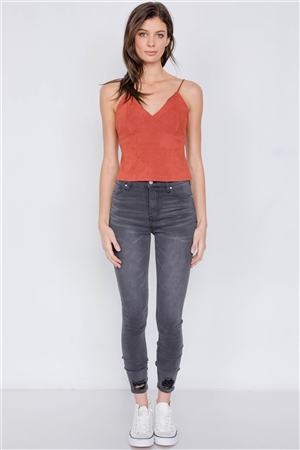 Rust Suede Corduroy Vintage Triangle Cup Crop Top