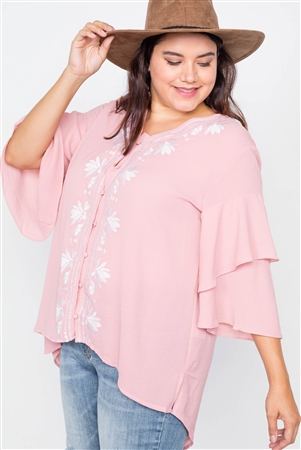 Plus Size Blush Floral Embroidered Layered Bell Sleeve Top