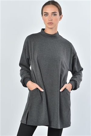 Charcoal Stand Up Collar Sweat Shirt Side Slit Top