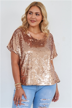 Junior Plus Size Rose Gold Short Sleeve Sequin Top