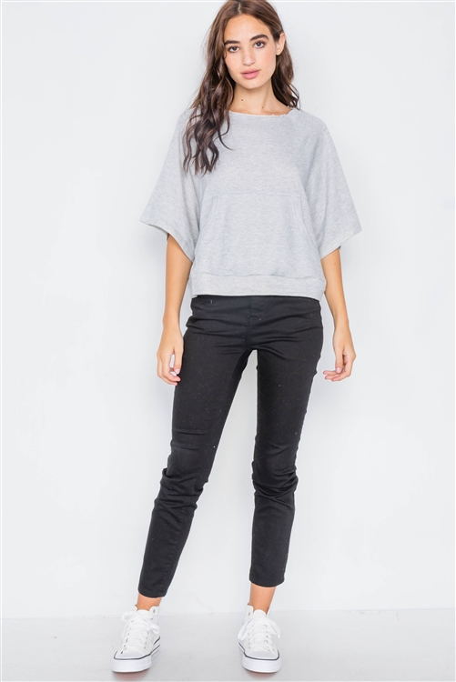 Heather Grey Raw Hem Neckline Relaxed Fit Sweater