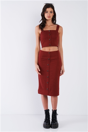 Rust Red Mock Button U-Shape Hem Crop & Midi Bodycon Skirt Set