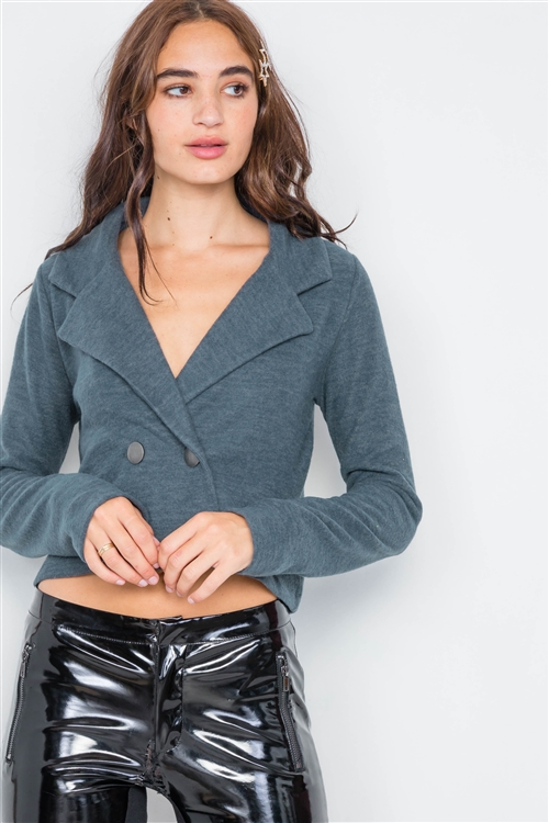 Charcoal Double Breasted Peacoat Crop Jacket