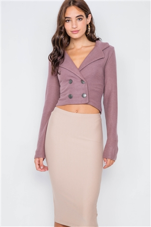 Mauve Double Breasted Peacoat Crop Jacket