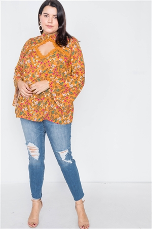 Plus Size Mustard Keyhole Cut Out Lace Trim Bell Sleeve Top