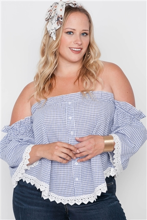 Plus Size Blue Gingham Off-The-Shoulder Top