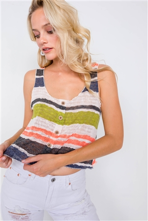 Multi Stripe Sporty Sleeveless Knit Sheer Tank Top