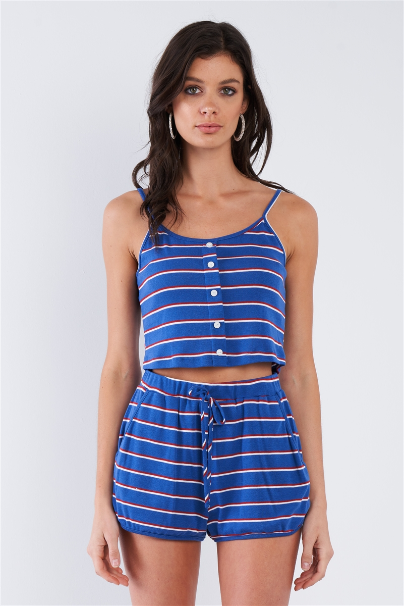 Blue Red & White Stripe Mock Front Button Crop & Casual Mini Short Set