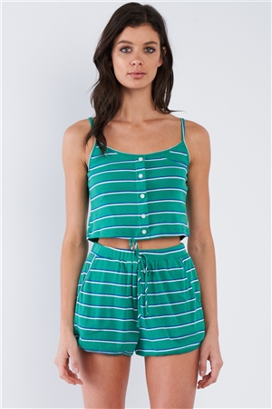 Green Blue & White Stripe Mock Front Button Crop & Casual Mini Short Set