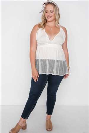 Plus Size Ivory Smocked Combo Mesh Top