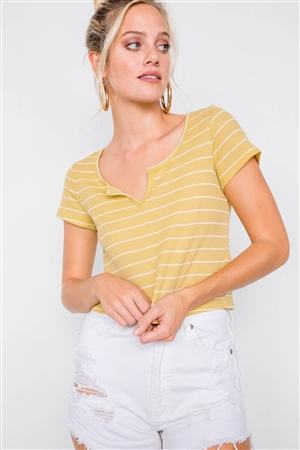 Lime & Ivory Stripe Cut Out V-Neck Short Sleeve Casual Crop Top