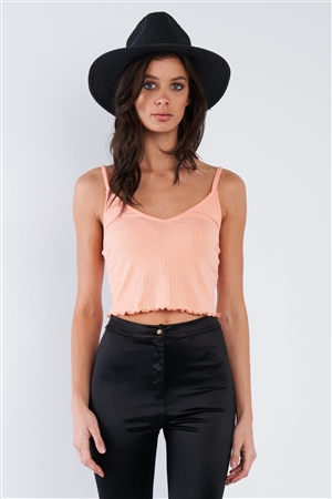 Light Coral Pink Boho Ribbed Low Back Spaghetti Strap Crop Top