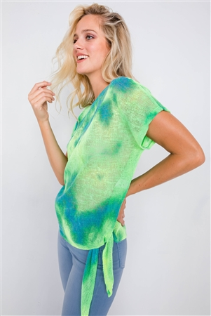Neon Green & Blue Tie Dye Sheer Knit Side Knot Sporty Top