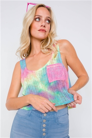 Rainbow Sleeveless Tie Dye Knit Tank Top