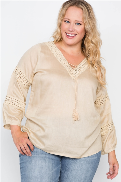 Plus Size Almond Crochet Trim V-Neck Boho Top