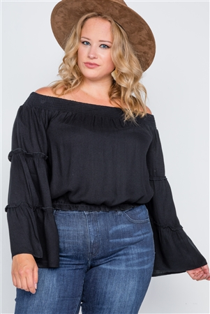 Plus Size Black Off-The-Shoulders Bell Sleeve Top