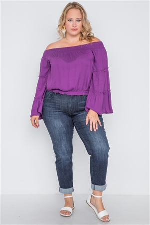 Plus Size Dahlia Purple Off-The-Shoulders Bell Sleeve Top