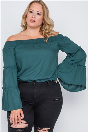 Plus Size Teal Off-The-Shoulders Bell Sleeve Top