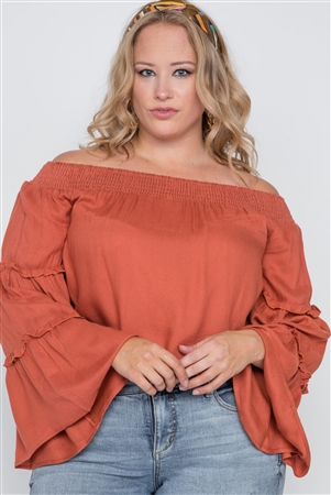 Plus Size Mango Off-The-Shoulders Bell Sleeve Top