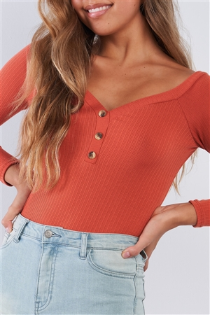 Rust Orange Ribbed Long Sleeve Bodysuit V-neck With Button Detail
