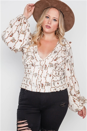Plus Size Ivory Floral V-Neck Ruffle Long Sleeve Top