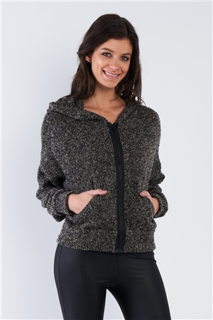 Heather Charcoal Grey Athletic Full Zip Hoodie Sweater