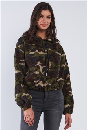Olive Green Camo Print Plush Relaxed Fit Long Sleeve Draw String Tie Hoodie Sweater /3-2-1