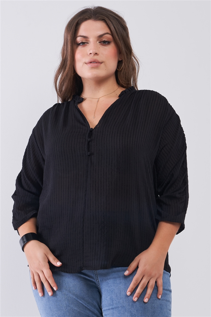 Junior Plus Black Striped Frill Neck Gathered Sleeve Detail Button-Down Relaxed Boho Top /2-2-2