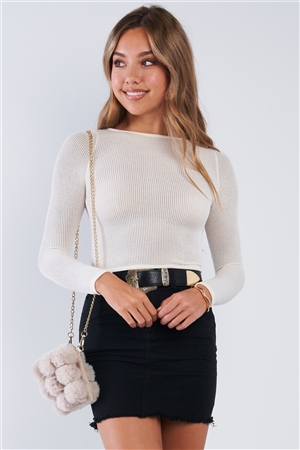 Fitted Cream Long Sleeve Knit Crew Neck Top