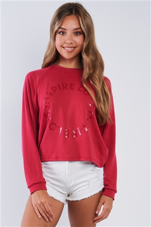 """Inspire Love"" Graphic Print Crew Neck Fleece Sweater"