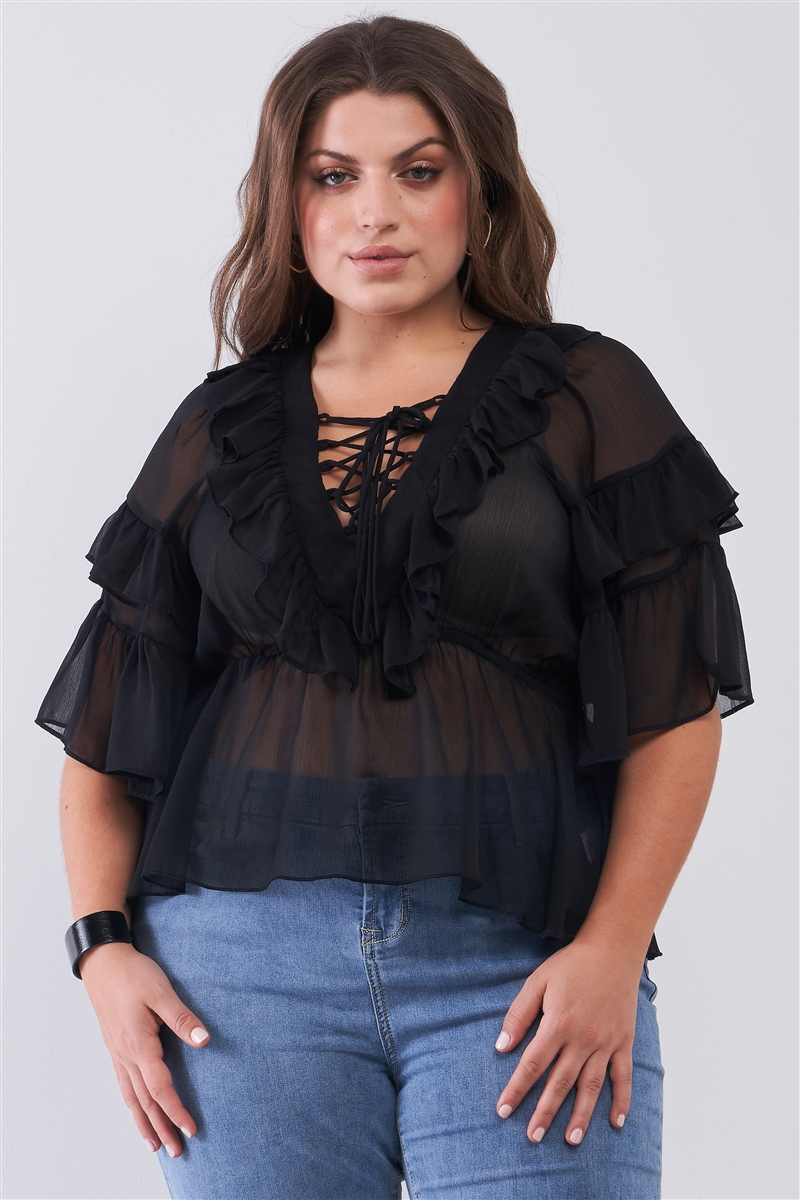 Junior Plus Black Sheer Mesh Ruffle Lace-Up V-Neck Detail Wide Sleeve Relaxed Top /2-2-2