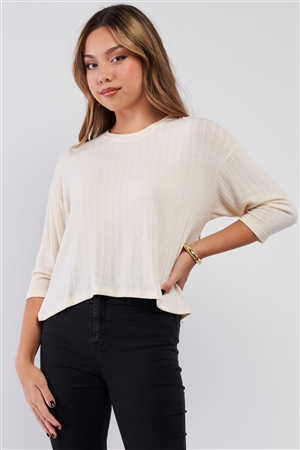 Cream Midi Sleeve Crew Neck Knit Sweater /2-2-2