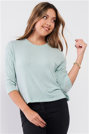 Mint Midi Sleeve Crew Neck Knit Sweater /2-2-2