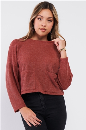 Brick Two Front Pocket Crew Neck Long Sleeve Knit Top /2-2-2