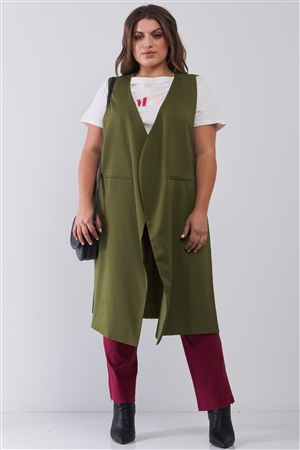 Junior Plus Olive Open Front And Side Sleeveless Long Vest /6 Pieces