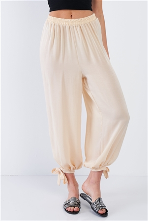 Silk Champagne Yellow Ankle Cut Out Semi-Sheer Jogger Pants