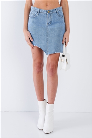 Medium Blue Washed Asymmetrical Raw Cut Hem Mini Skirt