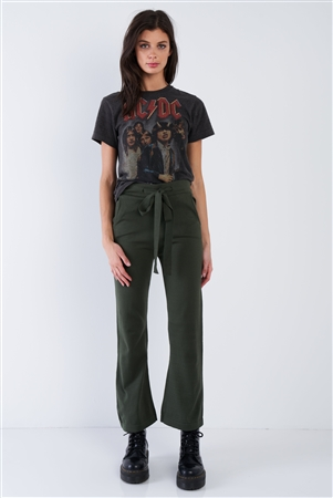 Green Solid Casual Boot Cut Leg Comfy Ankle Length Pants