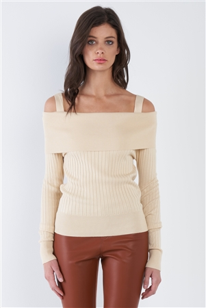 Cream Beige Off-The-Shoulder Top
