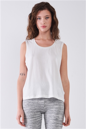 White Solid Sleeveless Raw Hem Detail Round Neck Basic Tank Top /1-2-2-1