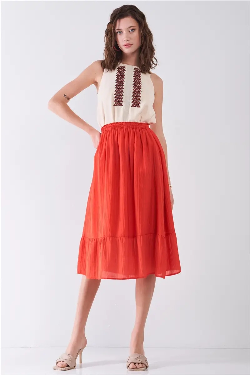Afterglow Red High-Waisted Slightly Pleated Midi Skirt /1-2-2-1