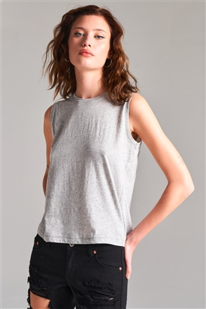 Heather Grey Solid Sleeveless Round Neck Basic Tank Top /1-2-2-1