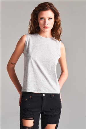 Heather Grey Solid Sleeveless Round Neck Basic Tank Top /2-1-1-2